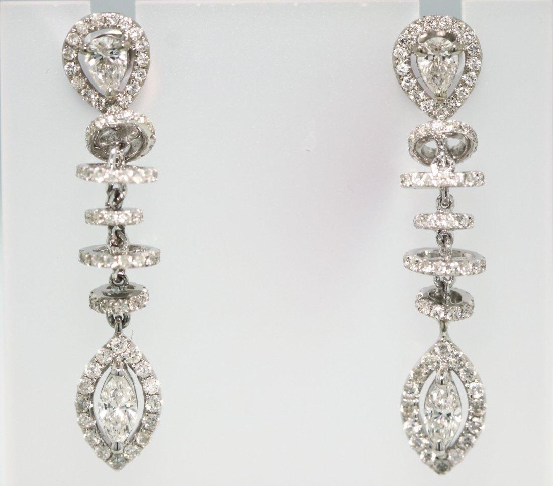 18KT White Gold Diamond Hanging Earrings FJM1339