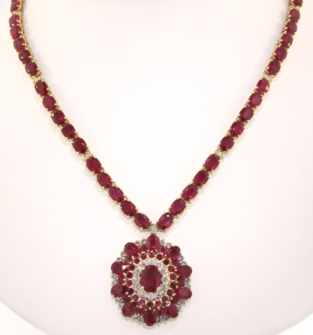 14KT Yellow Gold 80.41ct Ruby and Diamond Necklace RM33
