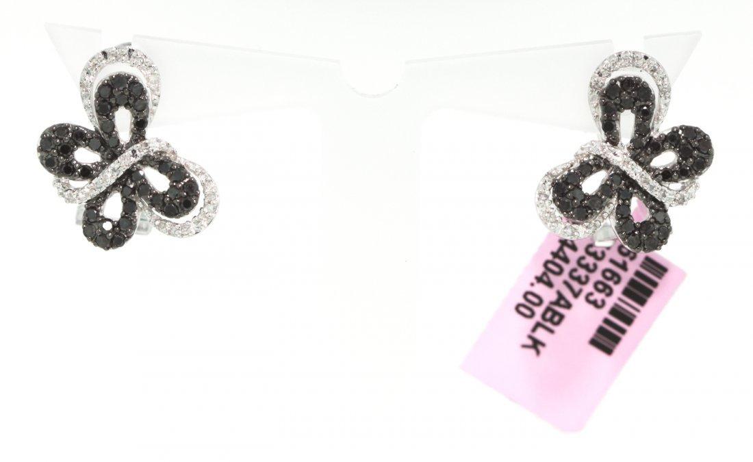 14KT White Gold Black and White Diamond Butterfly Earri