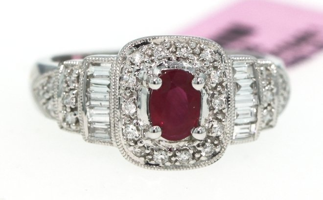 14KT White Gold .66ct Ruby and Diamond Ring FJM917