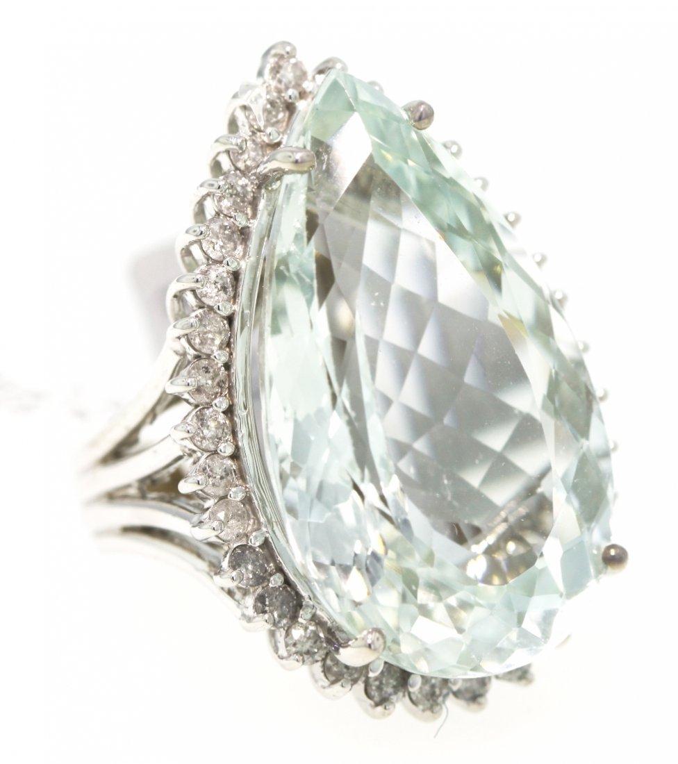 14KT White Gold 34.92ct Aquamarine and Diamond Ring RM3