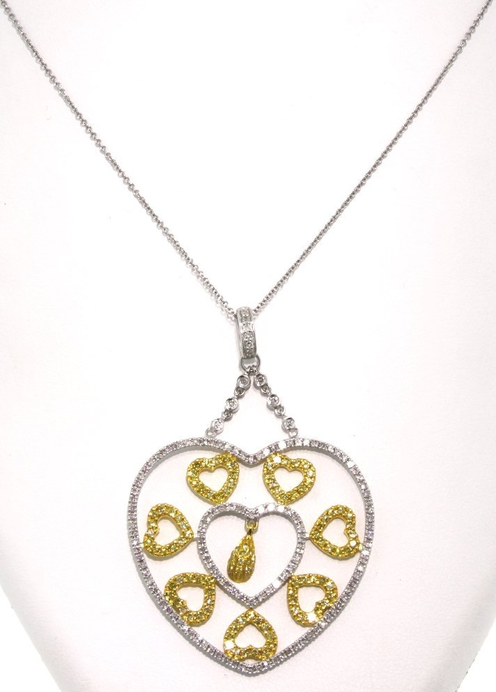 14KT Two Tone Gold Yellow and White Diamond Hearts Pend
