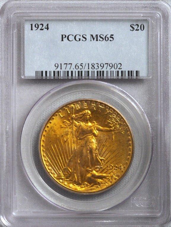 1924 $20 MS65 Saint Gaudens Double Eagle Gold Coin GFR2
