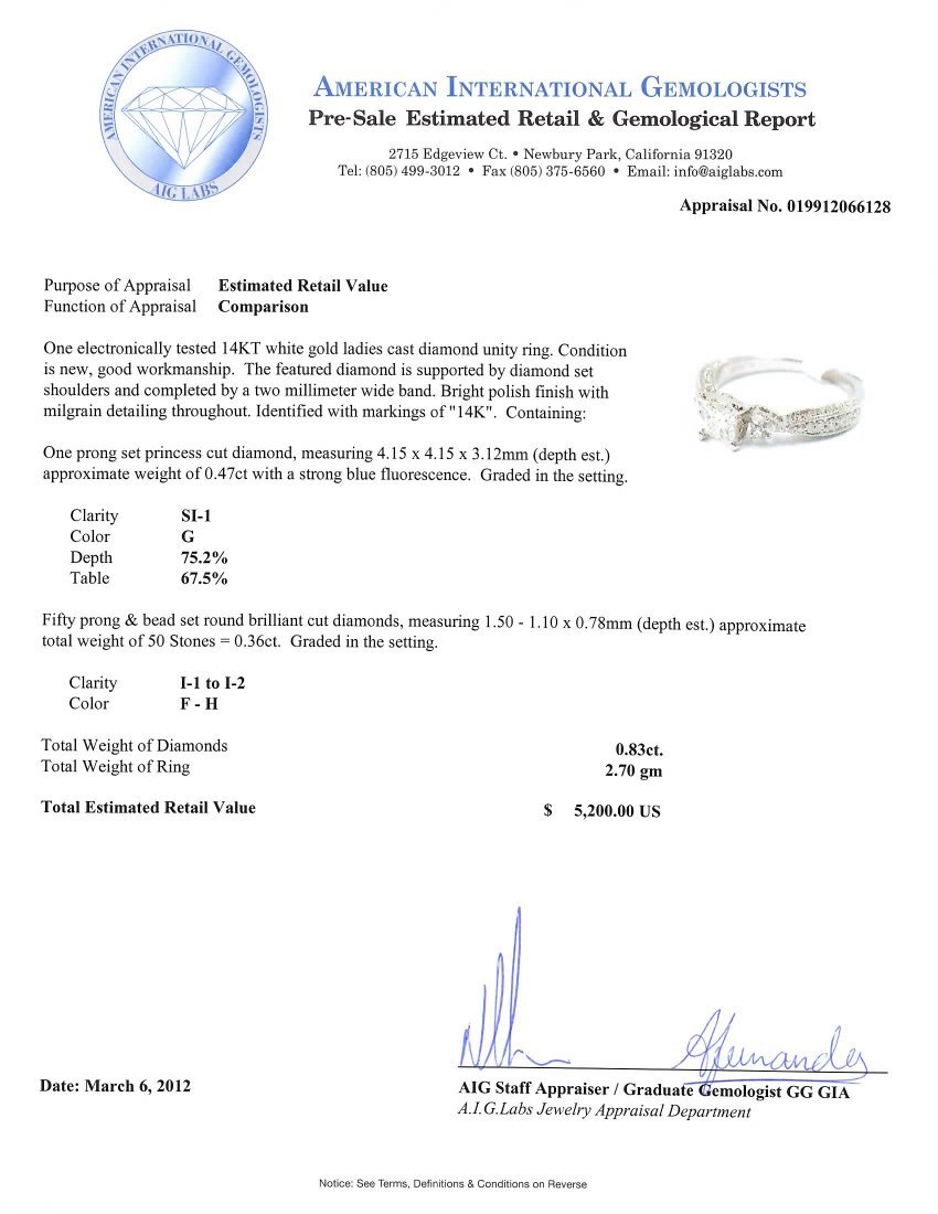 14KT White Gold 0.83ct Diamond Unity Ring A3813 - 2
