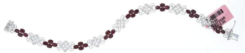 14KT White Gold 731ct Ruby  Diamond Bracelet FJM1362