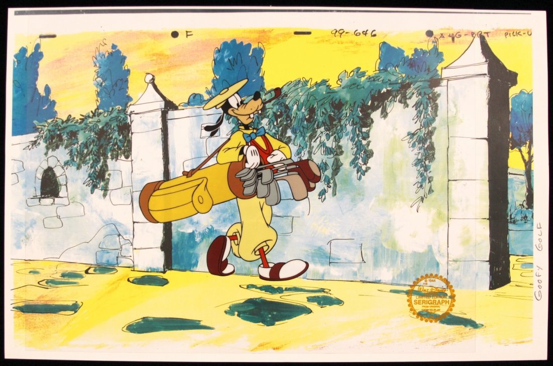 "Walt Disney ""How to Play Golf"" Serigraph Cel DisneySeri"