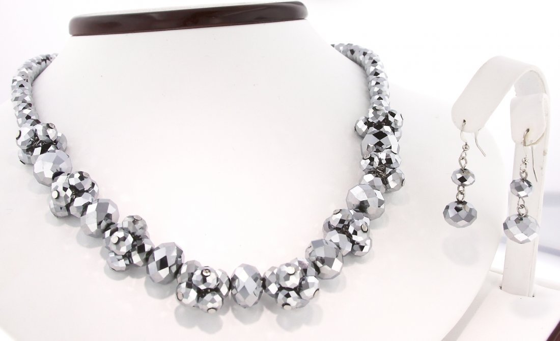 Stunning Metallic Silver Cluster Necklace and Earring S