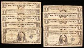 Lot of (10) 1957-B $1 Silver Certificate PMP26