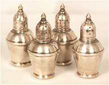 Vintage 4 Pc Sterling Silver Glasslined Salt and Pepper