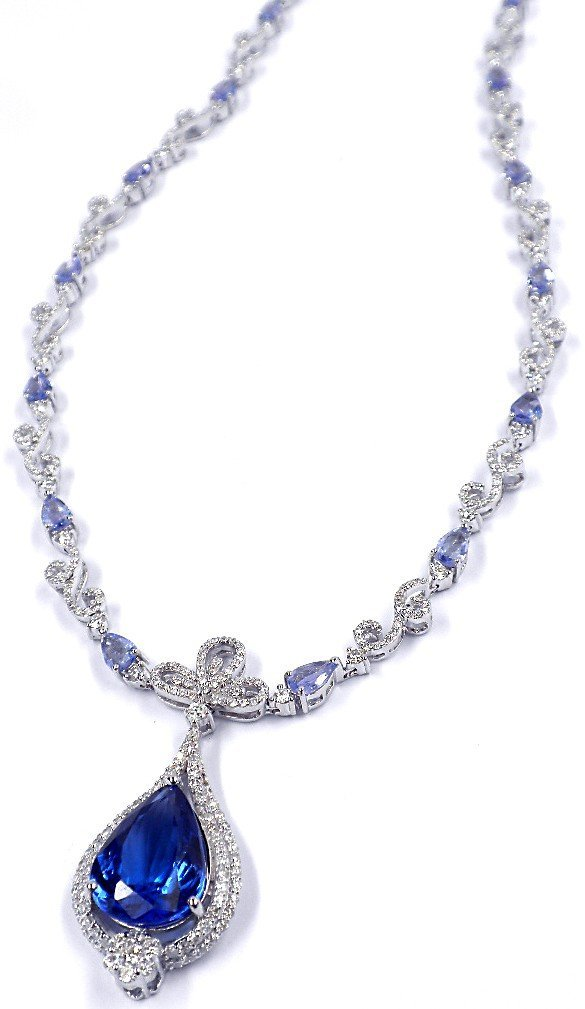 14KT White Gold 12.48ct Tanzanite & Diamond Necklace FJ