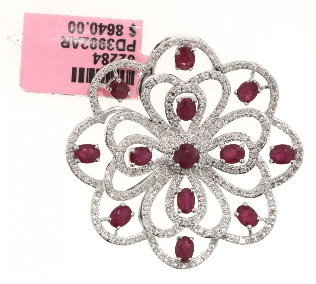 14KT White Gold 3.27ct Ruby and Diamond Flower Pendant