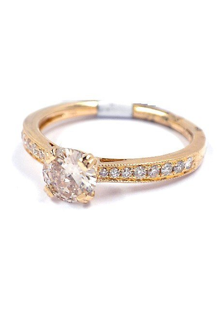 14KT Yellow Gold 0.74ct Diamond Unity Ring A3788