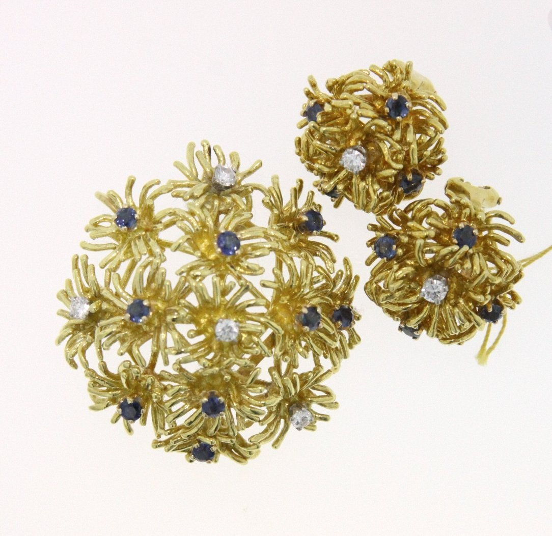 18KT Yellow Gold 2.75ct Sapphire and Diamond Suite RM46