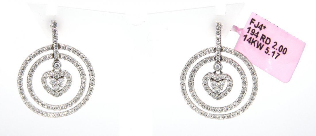 14KT White Gold 2ct Diamond Circled Hearts Earrings FJM