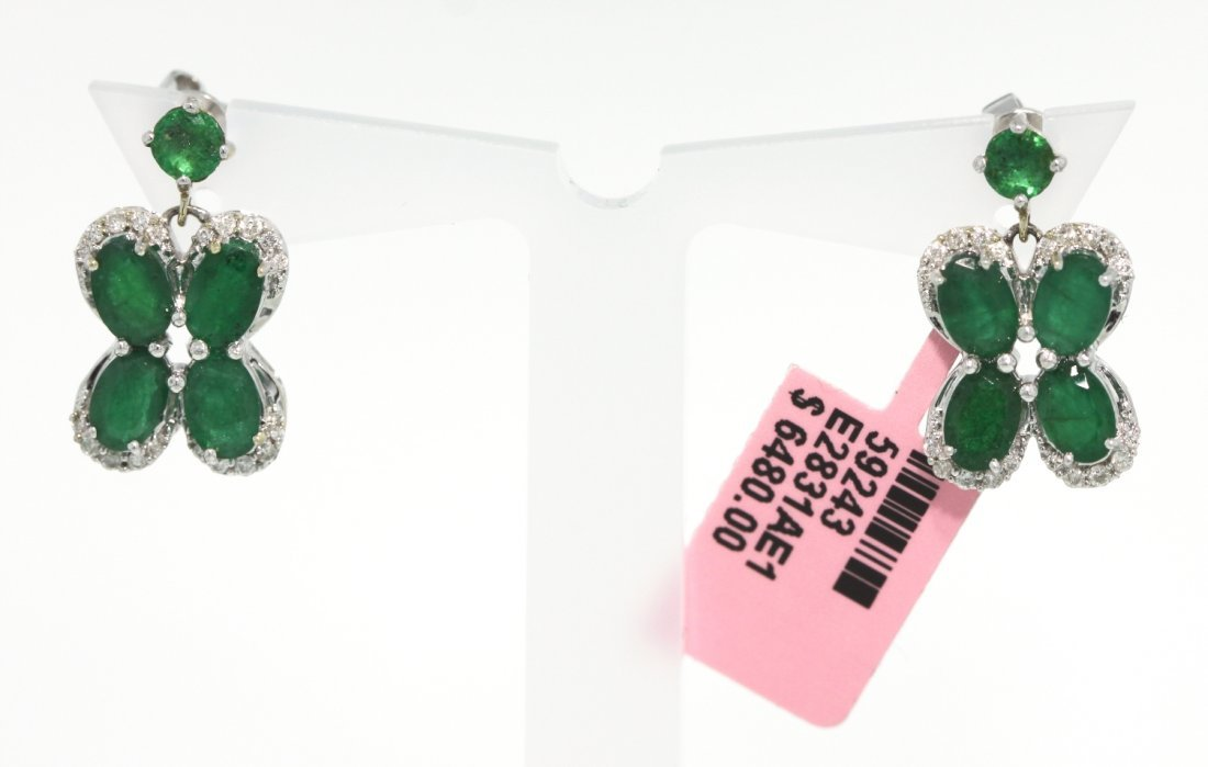 18KT White Gold 4.4ct Emerald and Diamond Earrings FJM1