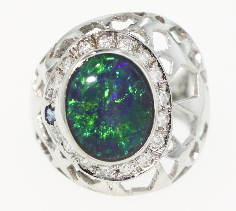 14KT White Gold Opal, Diamond, Sapphire Ring 5.7gms GD2