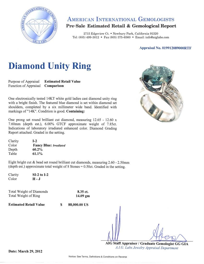 8.35ct Blue Diamond Unity Ring GB17 - 5