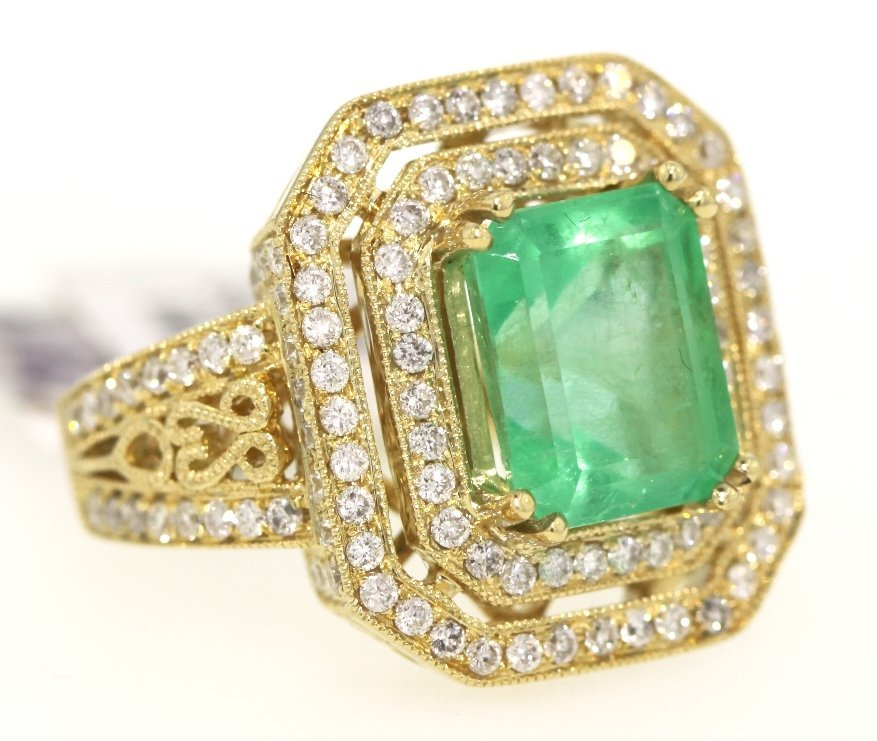 14KT Yellow Gold 5.19ct Emerald and Diamond Ring RM321