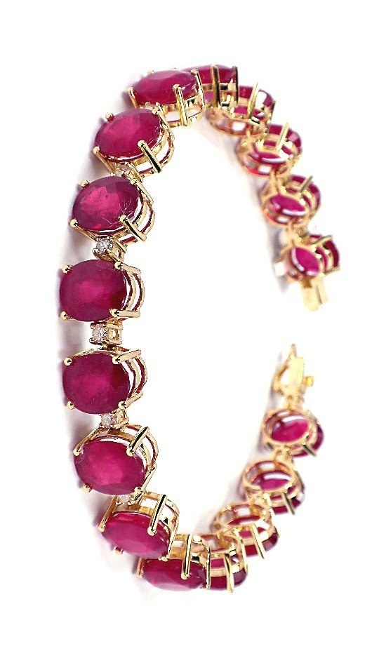 14KT Yellow Gold 63.19ct Ruby and Diamond Bracelet A373