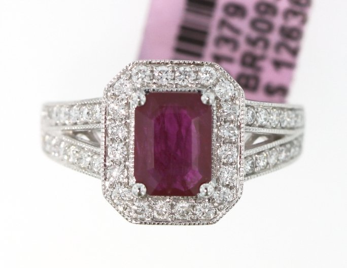 14KT White Gold 1.65ct Ruby and Diamond Ring FJM1407
