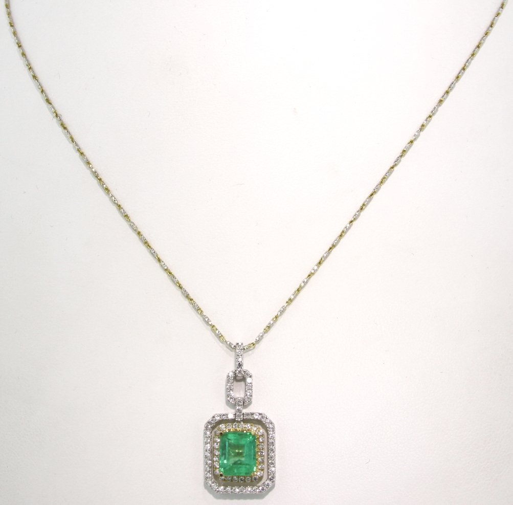 14KT White Gold 3.36ct Emerald and Diamond Pendant and