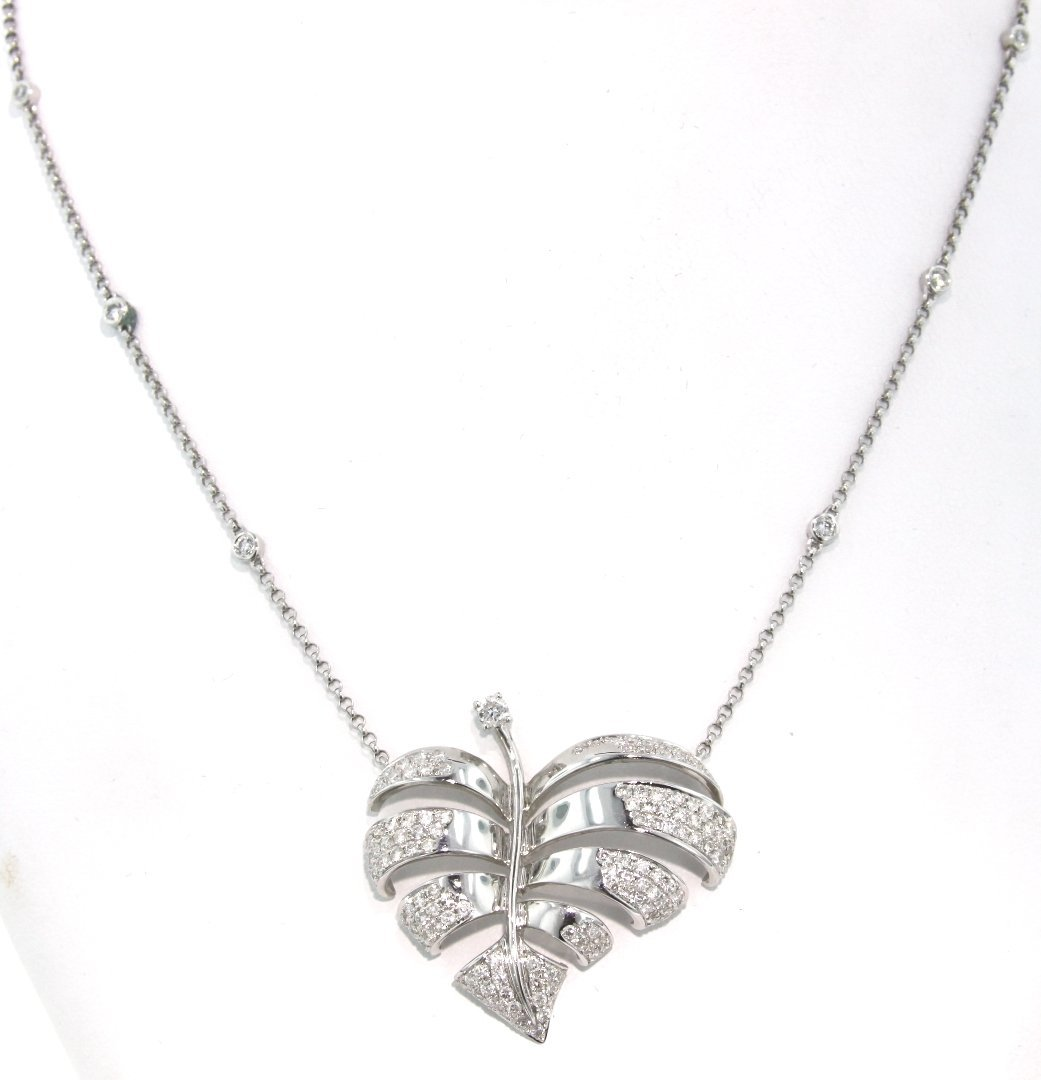 18KT White Gold 2.07ct Diamond Heart Leaf Necklace FJM1