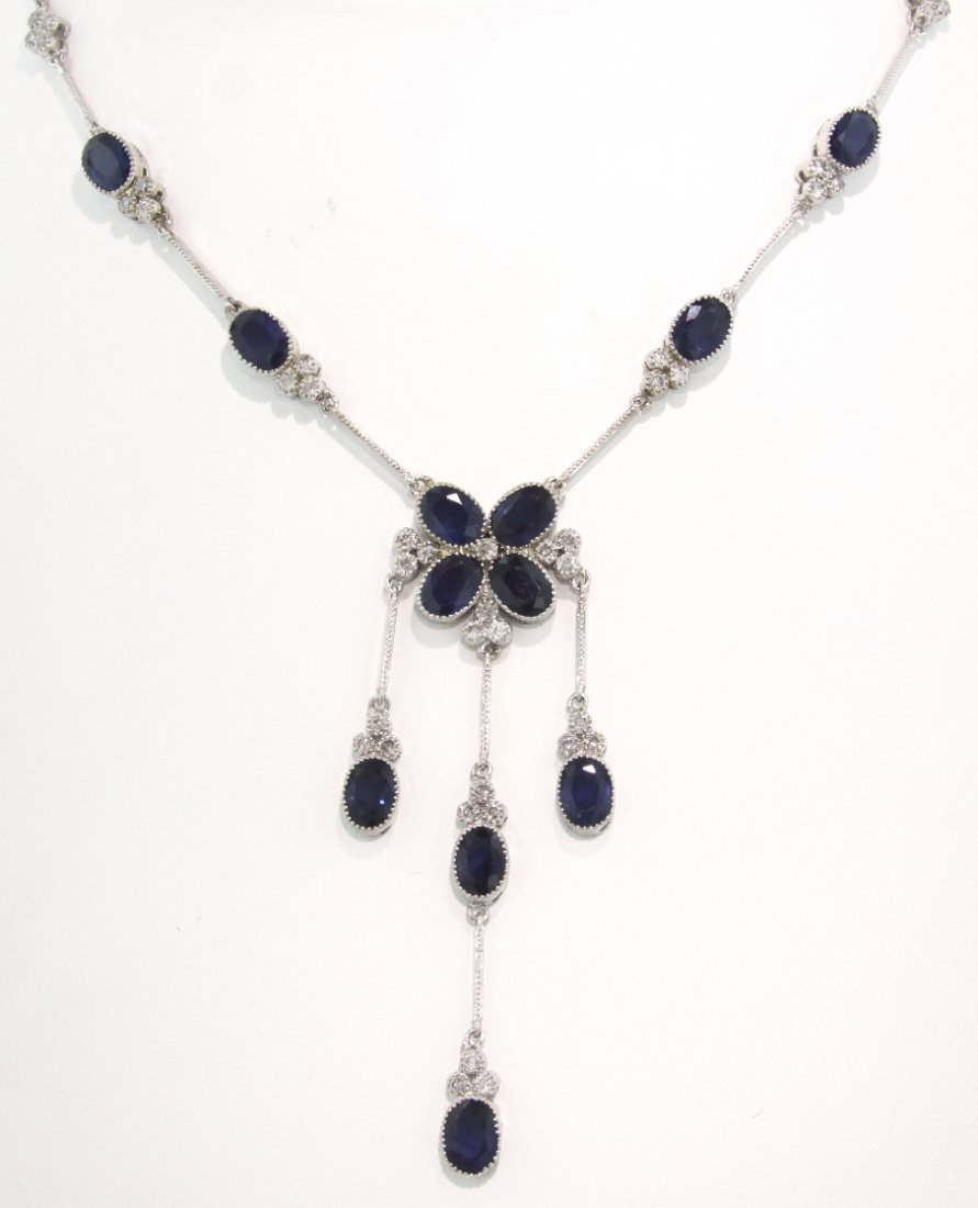 14KT White Gold 13.51ct Sapphire and Diamond Lariat Sty