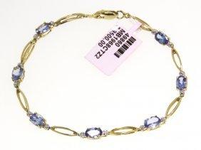 14KT Yellow Gold 2.82ct Tanzanite And Diamond Bracelet