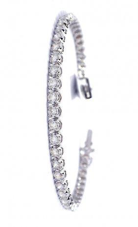 18KT White Gold 4.42ct Diamond Tennis Bracelet A3552