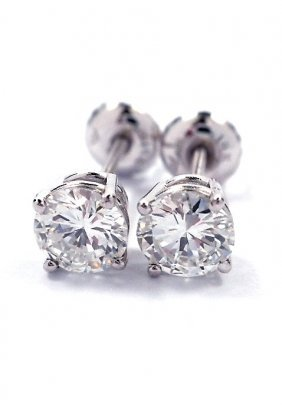14KT White Gold .92ct Diamond Solitaire Stud Earrings A