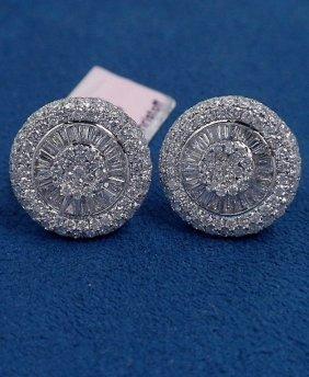 14KT White Gold 3.13ct Diamond Cluster Stud Earrings FJ