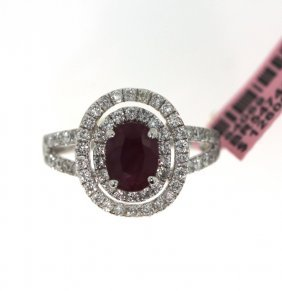 18KT White Gold 1.59ct Ruby & Diamond Ring FJM1596