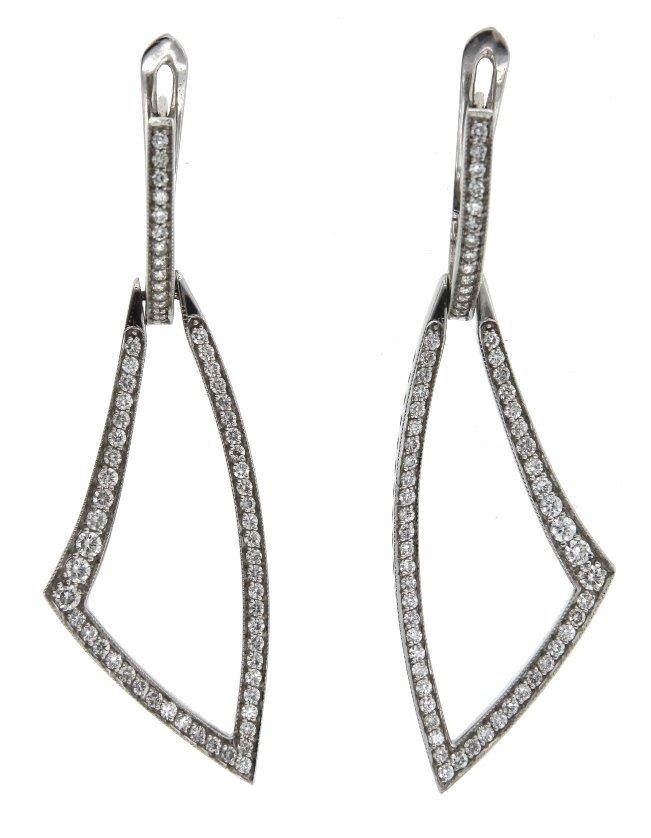 18KT White Gold 2.45ct Diamond Dangle Earrings A3818