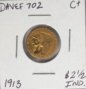 1913 $2 1/2 C+ Indian Head Quarter Eagle Gold Coin DAVE