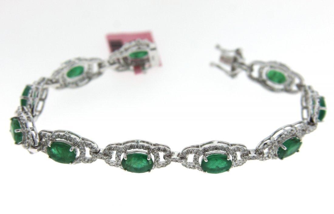 14KT White Gold 7.07ct Emerald & Diamond Bracelet FJM14