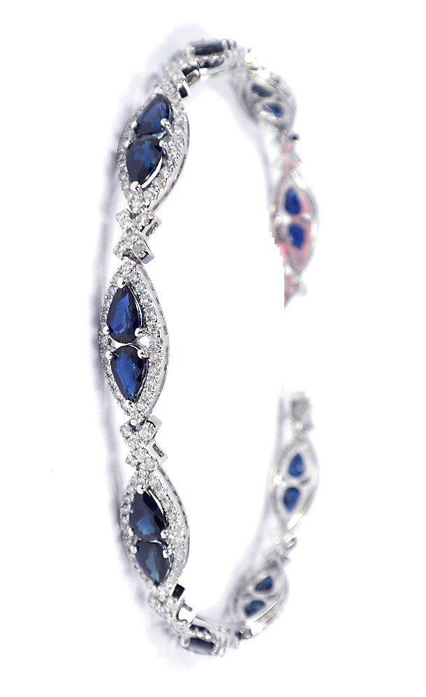 14KT White Gold 8.62ct Sapphire and Diamond Bracelet FJ