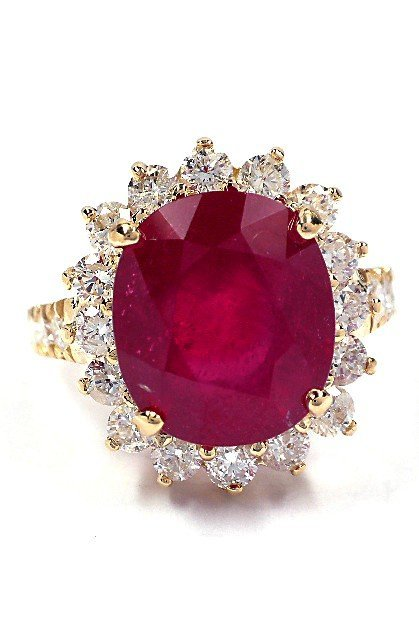 14KT Yellow Gold 7.16ct Ruby and Diamond Ring A3715