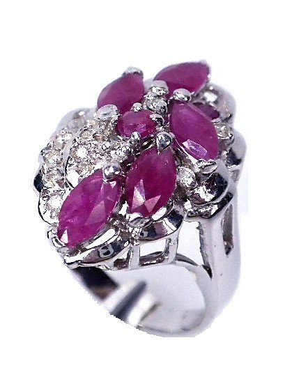 14KT White Gold Ruby & Diamond Ring. A1452