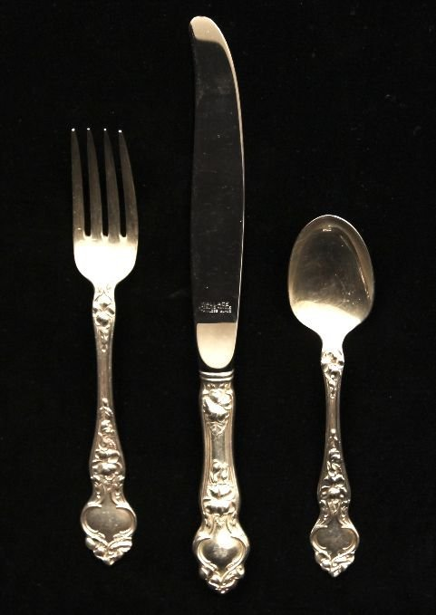 """Antique Wallace Sterling Silver Art Noveau """"Violet"""" 3-p"""