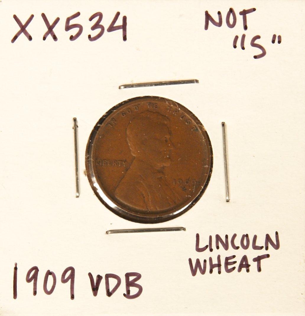 1909 VDB Lincoln Wheat Penny XX534