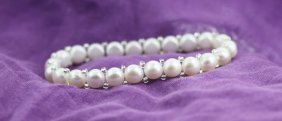"6.5"" Cultured White Pearl Bracelet PS43"