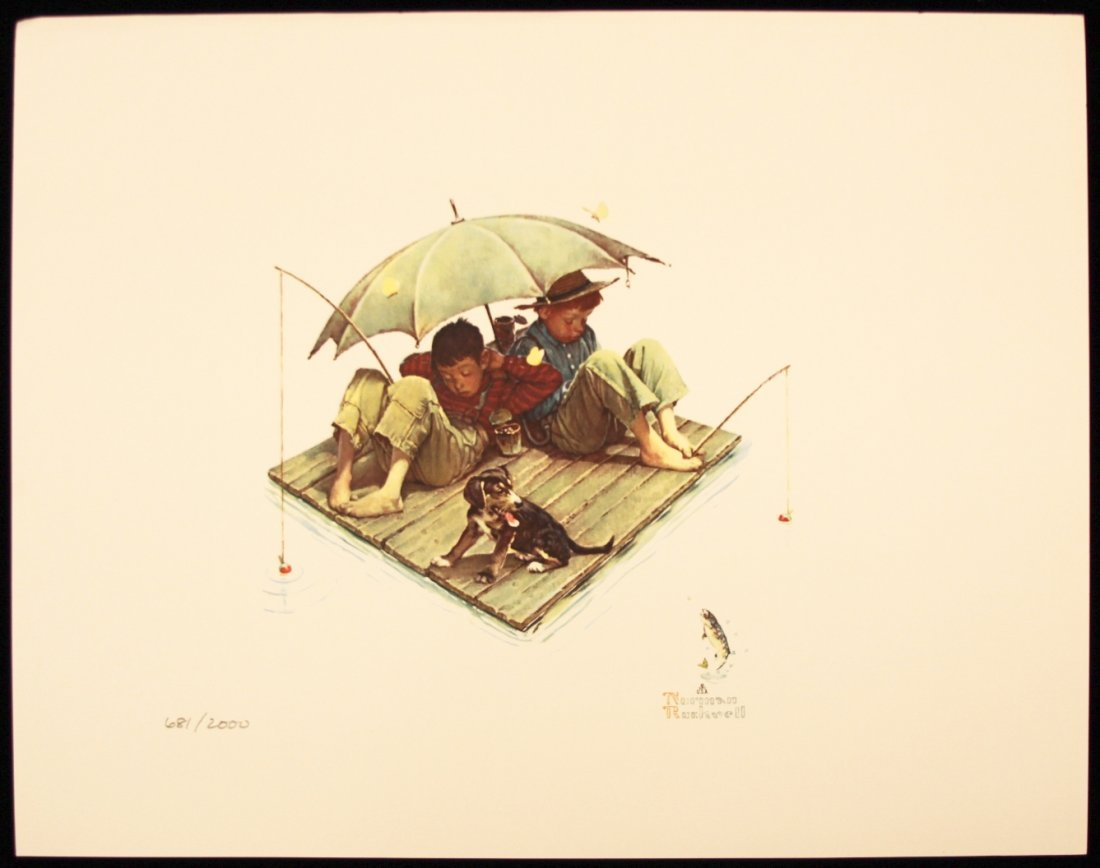 """Norman Rockwell """"Me and My Pal, Fisherman's Paradise"""" F"""