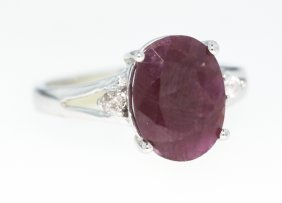 10KT White Gold 4.2ct Ruby and Diamond Ring GD319