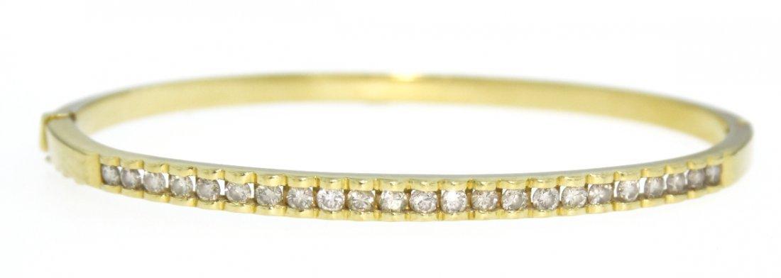 18KT Yellow Gold Elegant Diamond Bangle Bracelet WBS116