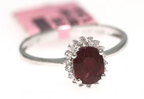 14KT White Gold 1.21ct Ruby And Diamond Ring FJM967