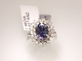 14KT White Gold 3.65ct Tanzanite And Diamond Ring RM439
