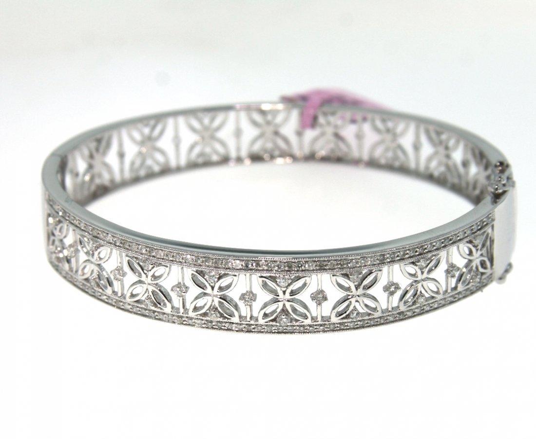 14KT White Gold 1.05ct Diamond Bangle Bracelet FJM1564