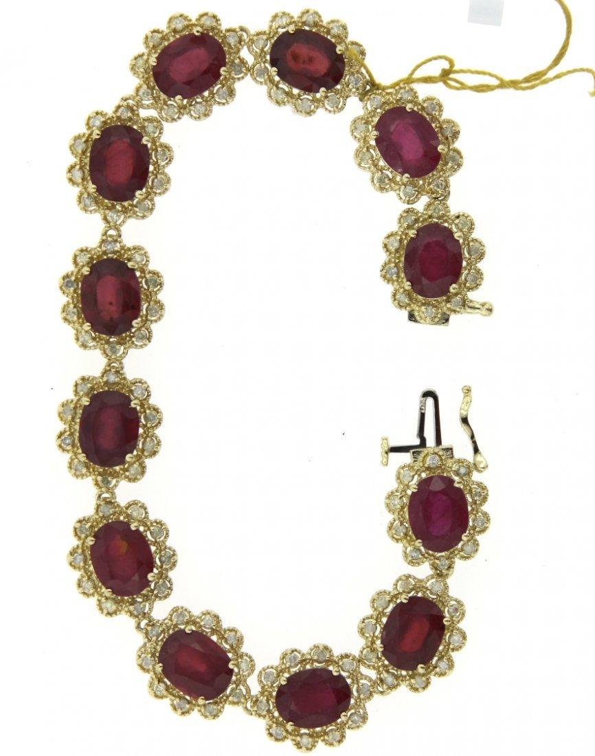 14KT Yellow Gold 35.17ct Ruby & Diamond Bracelet RM509