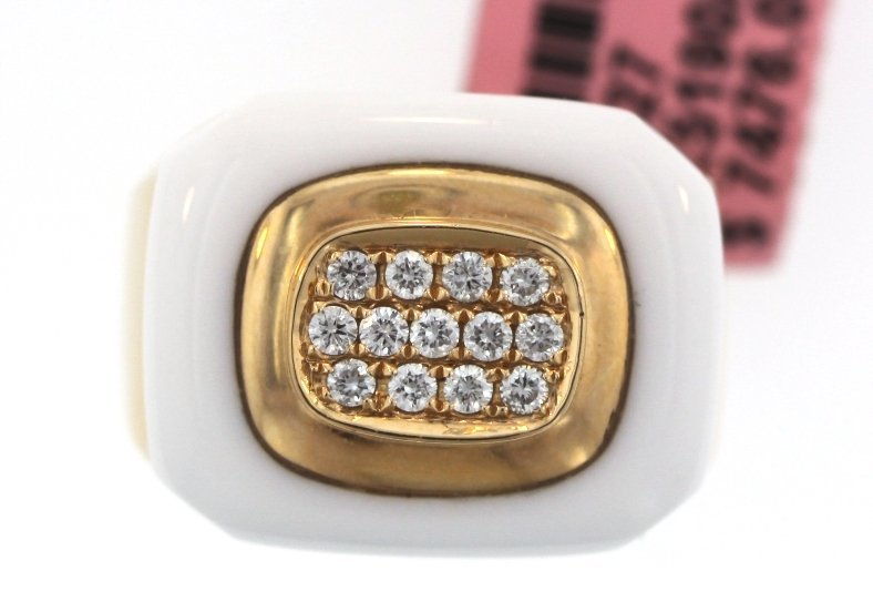 18KT Rose Gold 1ct White Agate and Diamond Ring FJM1495
