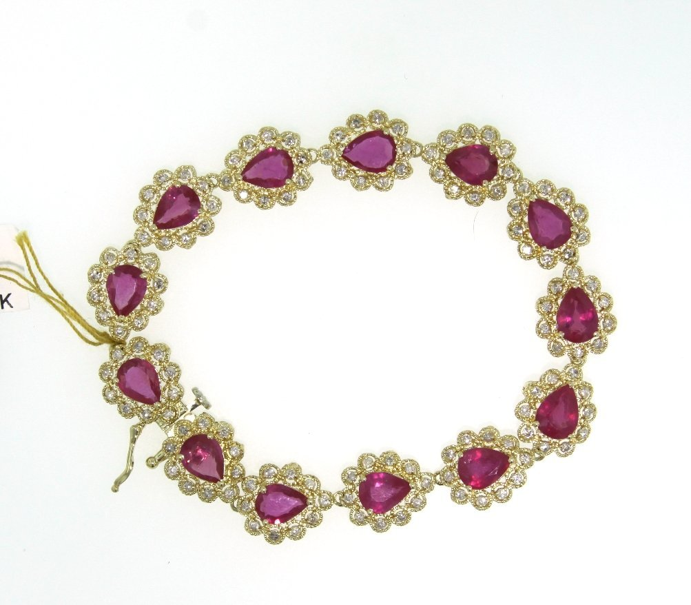 14KT Yellow Gold 20.28ct Ruby and Diamond Bracelet RM48